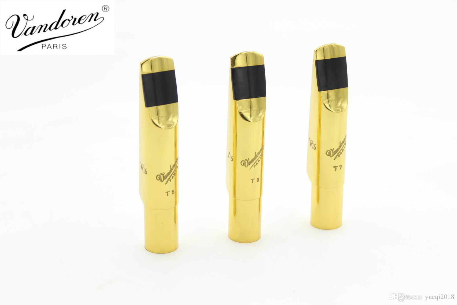 جديد vandoren v16 سلسلة ألتو تينور سوبرانو ساكسفون جودة عالية المعبرة المعادن الذهب ورنيش حجم 5 6 7 8 9 الملحقات أداة
