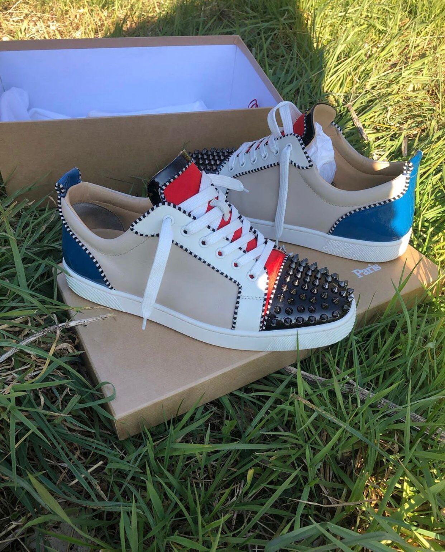 Fondo in cuoio delle scarpe da tennis Patchwork rosso perfetto Junior Spikes basso completa Studs piano casuale Uomini, donne di alta qualità Marchi Rivetti Formatori