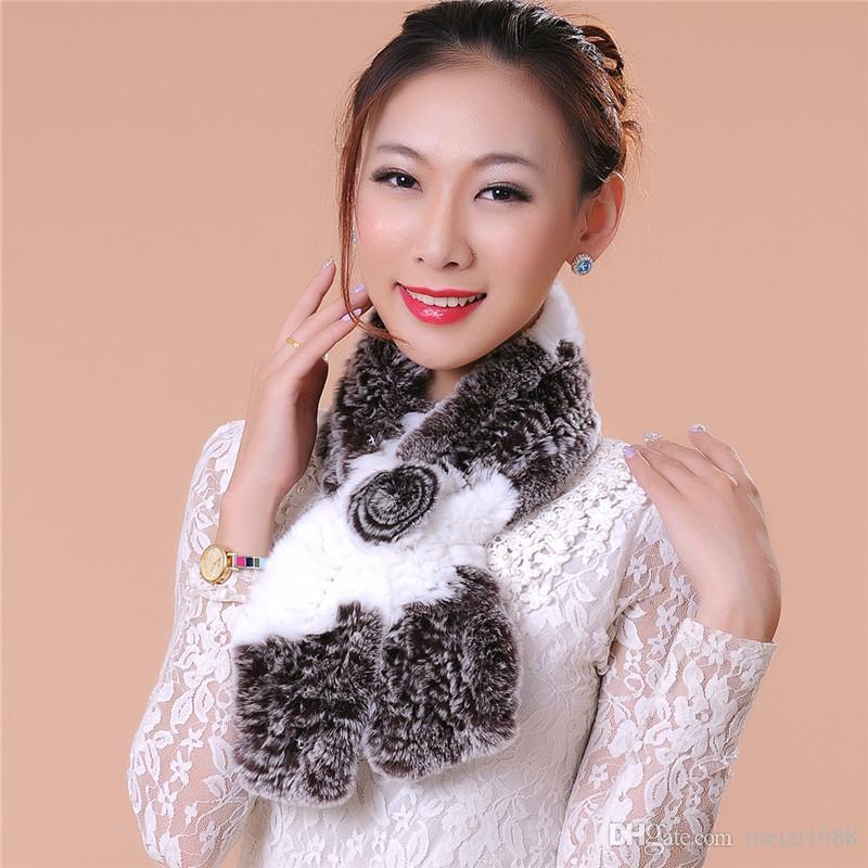 Модные аксессуары Женский шарф Мех Роскошные женские зимние меховые Weave шарф теплый Бесплатная доставка