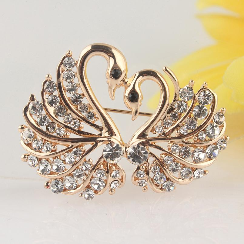 Joyería de la manera broches de moda de las nuevas mujeres de color oro claro / Champagne Cristal Broche / rosa cisne de Austria Pin Fancy delicado Broche