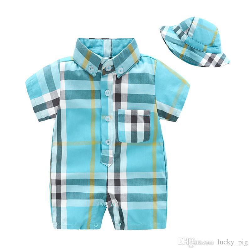 Yeni Çocuk Giysileri Moda Yaz Bebek Yenidoğan Romper Şapka Ile Mavi Ekose Tulumlar Erkek Kız Rahat Tulum
