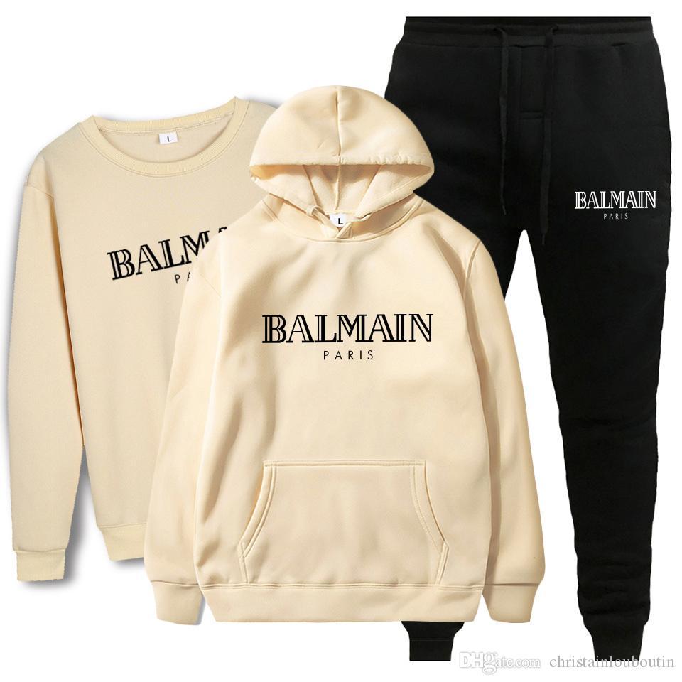 Balmain New Fashion Anzug 2020 Männer Sport Print Männer Pullover Pullover Hip Hop-Männer Anzug Sweatshirts Bekleidung