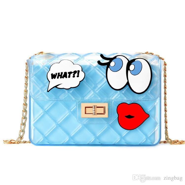 여성 디자이너 Crossbody 가방 패션 지우기 젤리 여성 숄더 가방 럭셔리 핸드백 골드 체인 메신저 가방 토트 지갑