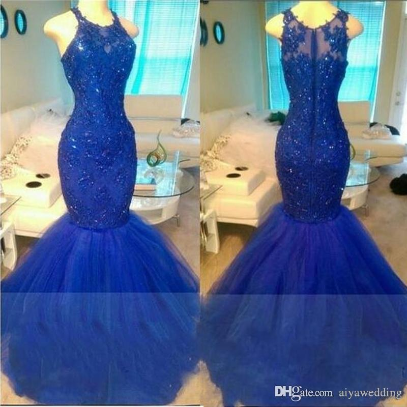 Real Shinny Royal Blue Mermaid Prom Dresses Sexy Illusion Long Sleeves Sheer Backless Appliqued Sequined Long Tulle Party Evening Gowns