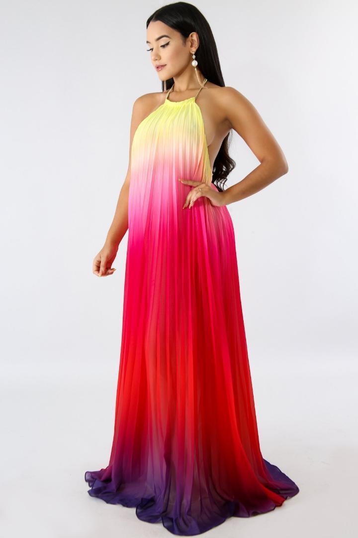 등이없는 의류 여자 여름 디자이너 파티 드레스 우아한 그라데이션 컬러 쉬폰 맥시 드레스 비치