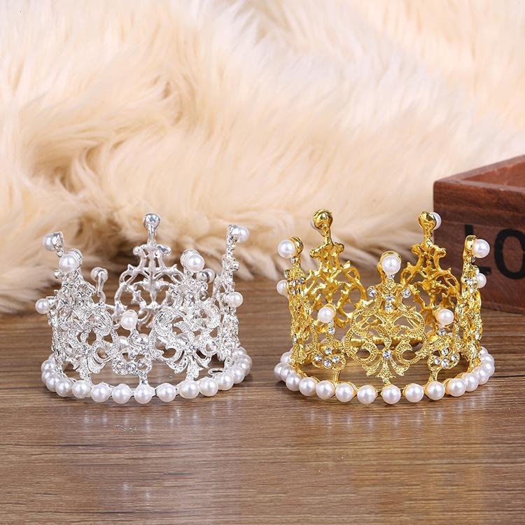 Маленького круглых детской Корона запеченной жемчужины торт Pearl Rhinestone Принцесса декоративный подарок торт выпечка корона
