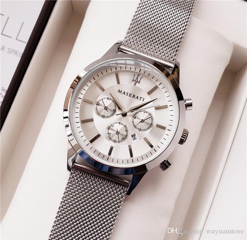 Relogio masculino Relojes para hombre Acero Malla Correa de acero Vestido de lujo Diseñador Calendario Pulsera de oro Reloj masculino Reloj 2019 amantes amantes
