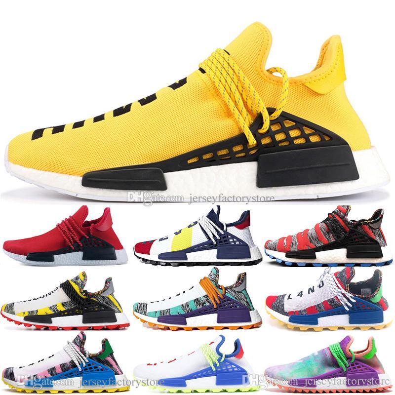 박스 2019을 통해 인간의 경주 후 흔적 퍼렐 윌리엄스 남성은 남성 여성 노란색 빨간색 얼간이 블랙 러너 스포츠 운동화 여성을위한 신발을 실행
