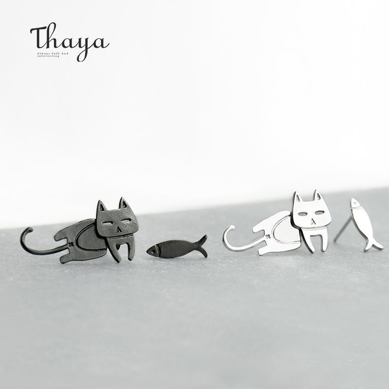 Thaya Cute Cat Fish модные серьги женский S925 стерлингового серебра животных Ушной крючок Шпилька для женщин прекрасные подарки партии CX200624