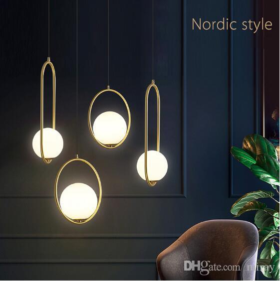 Nordic Bola de vidro pingente Luzes Iluminação Industriel de suspensão E27 Lamp Luster Glod arte cozinha do hotel hoop decoração luminária