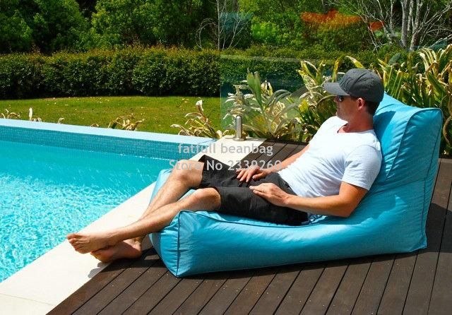 COVER ONLY , no filler - Aqua blue outdoor bean bag chair, External beanbag sofa seat furniture, patio hammock beds,garden seat
