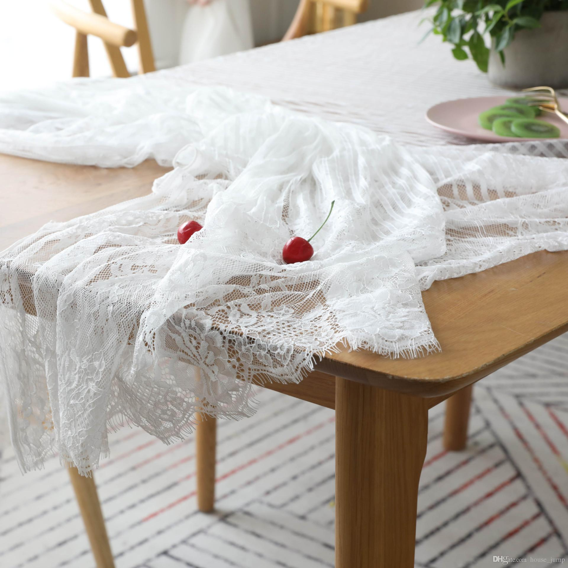 Ins Nordic Lace Tablecloth Tea Table Eyelash Art Cafe Table Cloth White  Flower Lace Stripe Bar Table Cloth