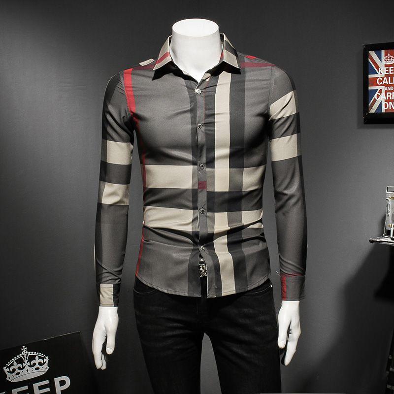 2018 новый рубашку с длинными рукавами европейской станции весной и осенью мужские рубашки личности диких моды случайные мужской прилив
