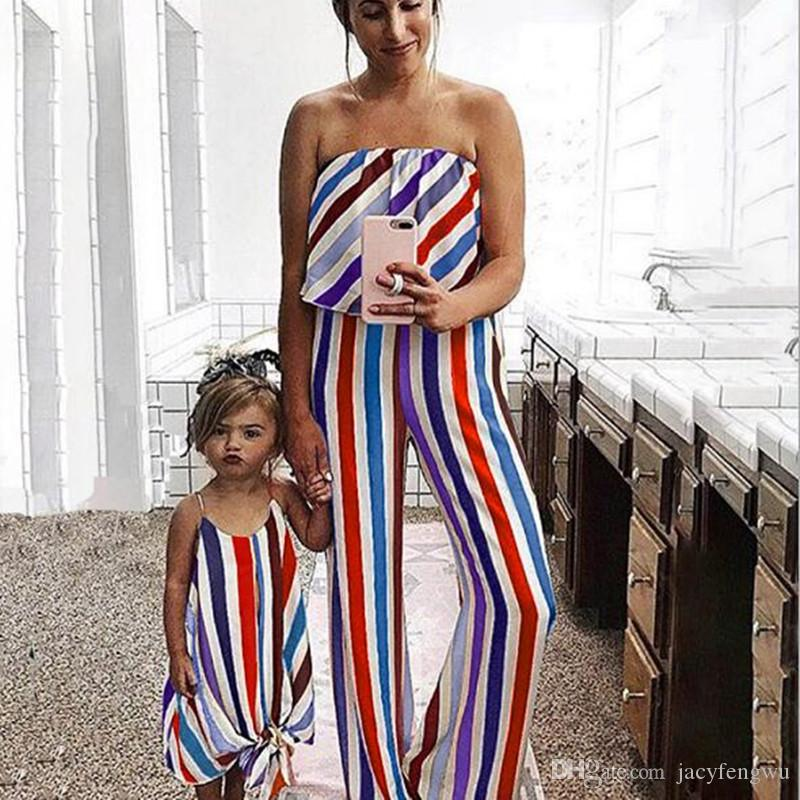 Mãe e filha roupas família roupa combinando mamãe e me vestidos meninas macacões bebê crianças meninas verão crianças roupas qzzw123b