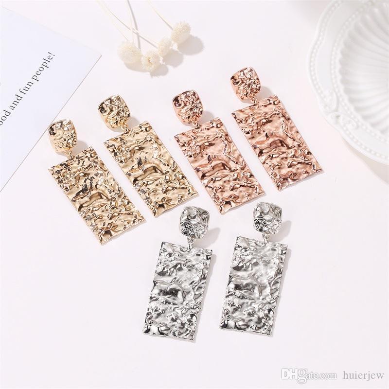 Pendientes bastante geométrico de lujo del color de la plata del oro Rectángulo / hermosa pendiente de la joyería del partido de las mujeres grandes pendientes del metal de la manera larga regalo