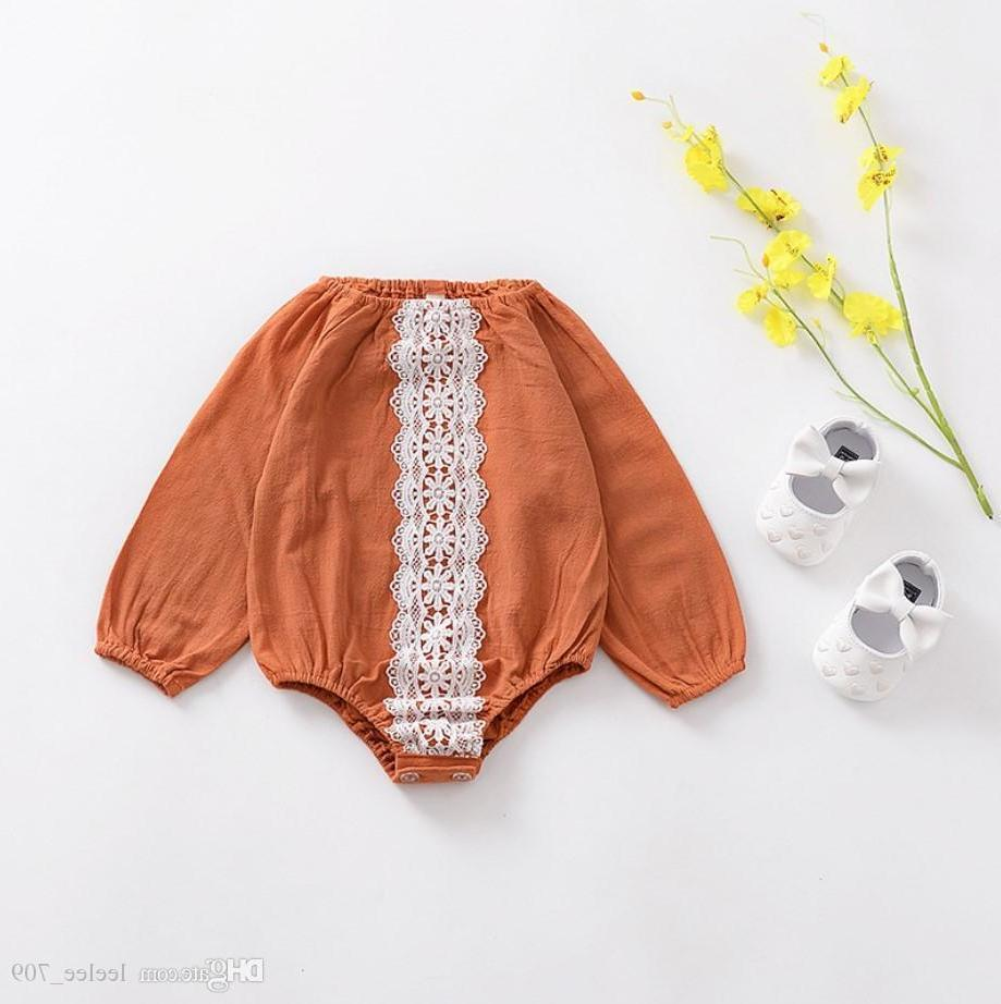 아기 소녀 의류 Romper 레이스 디자인 긴 소매 노란 아기 Romper 100 %면 라운드 칼라 봄 가을 편안한 소녀 Romper
