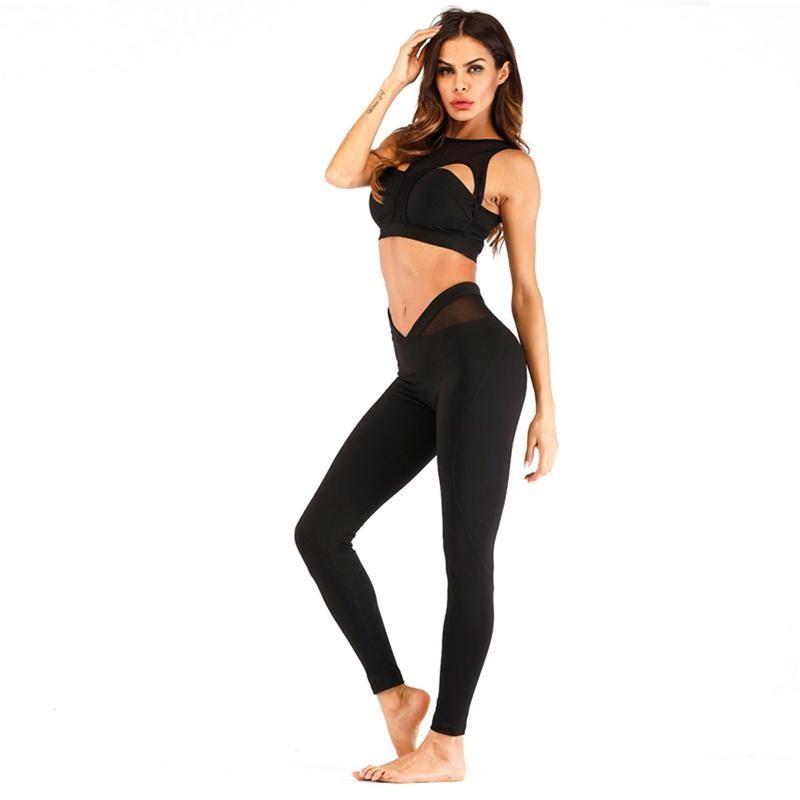 Women Gym Clothes 2 Piece Set Women Running Set Leggings Sports Piecing Yoga Fitness Suit With Zipper Sports Suit #278595