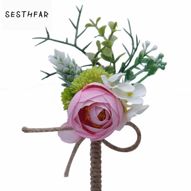Düğün boutonniere Damat Baba Pim İpek Çiçek Man Yakaya Gelin nedime Bilek Çiçek Sağdıç nkUEd
