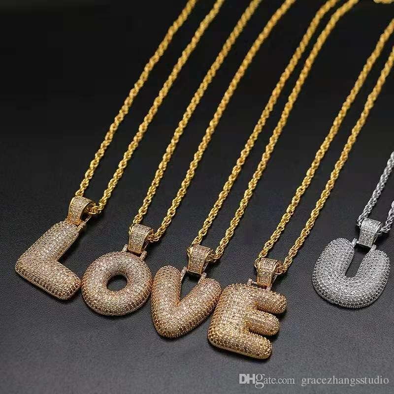 Lettre Alphabet Bling Corde Chaîne Collier Hip Hop Cristal Pendentif Cadeau Bijoux