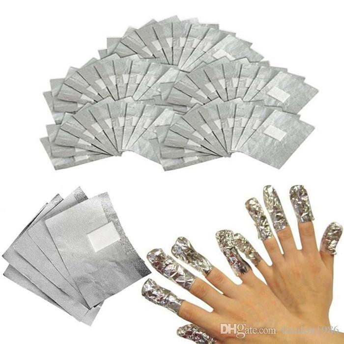 Papel de aluminio Nail Art Soak Off Gel acrílico Polaco Eliminación de uñas Envoltura Herramienta de maquillaje Nail Carel 100 Unids / lote