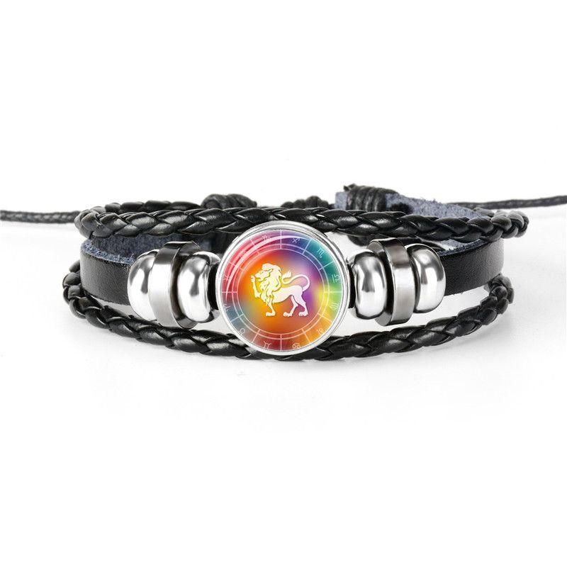 12 Constellation Zodiac Leo Time Gem Glass Dome Bracelet Charm Diy Jewelry Metal Black Multilayer Leather Rope Beaded Bangles Women Men Gift