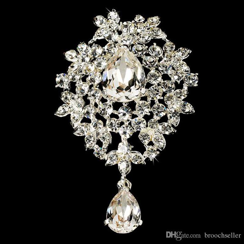 Posrebrzane Clear Rhinestone Diamante Crystal Dangle Heart Drop Glass Broszka na ślub