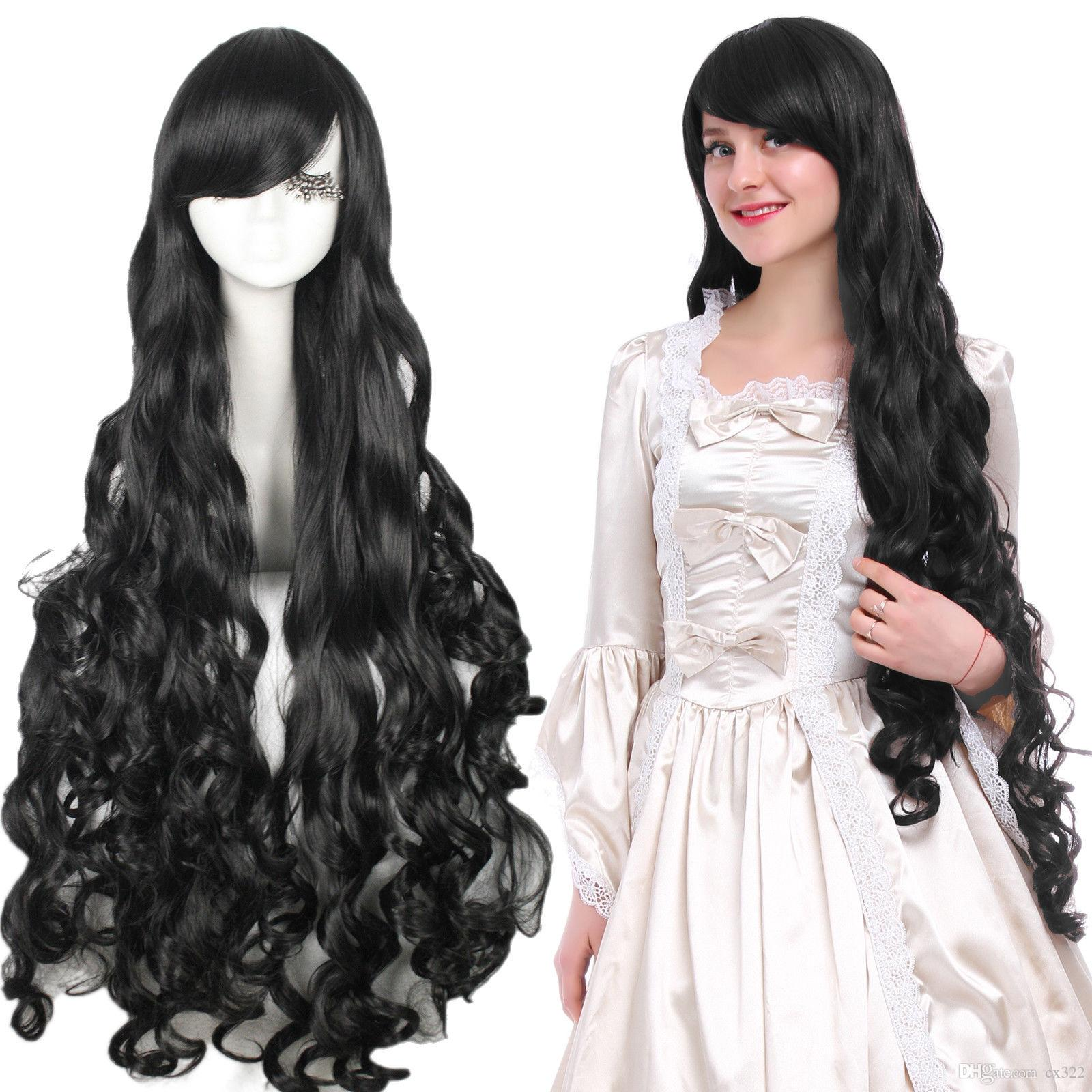 Anime Women Lolita Long Black Curly Wavy Wave Cosplay Wigs Full Hair Party Wig