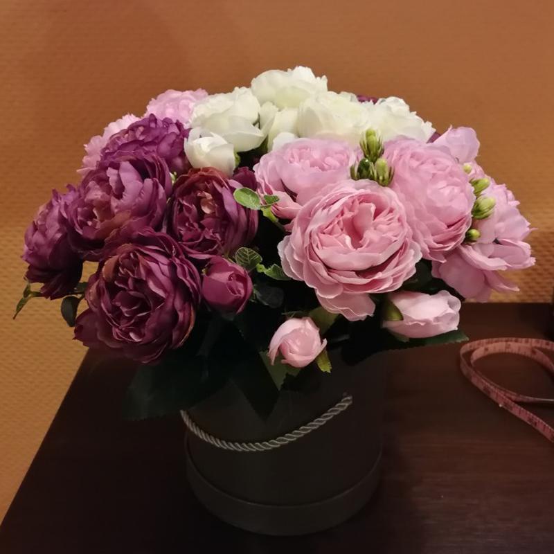 Ev Düğün Dekorasyon kapalı için 30cm Gül Pembe İpek Şakayık Yapay Çiçekler Bouquet 5 Big Head ve 4 Bud Ucuz Sahte Çiçekler
