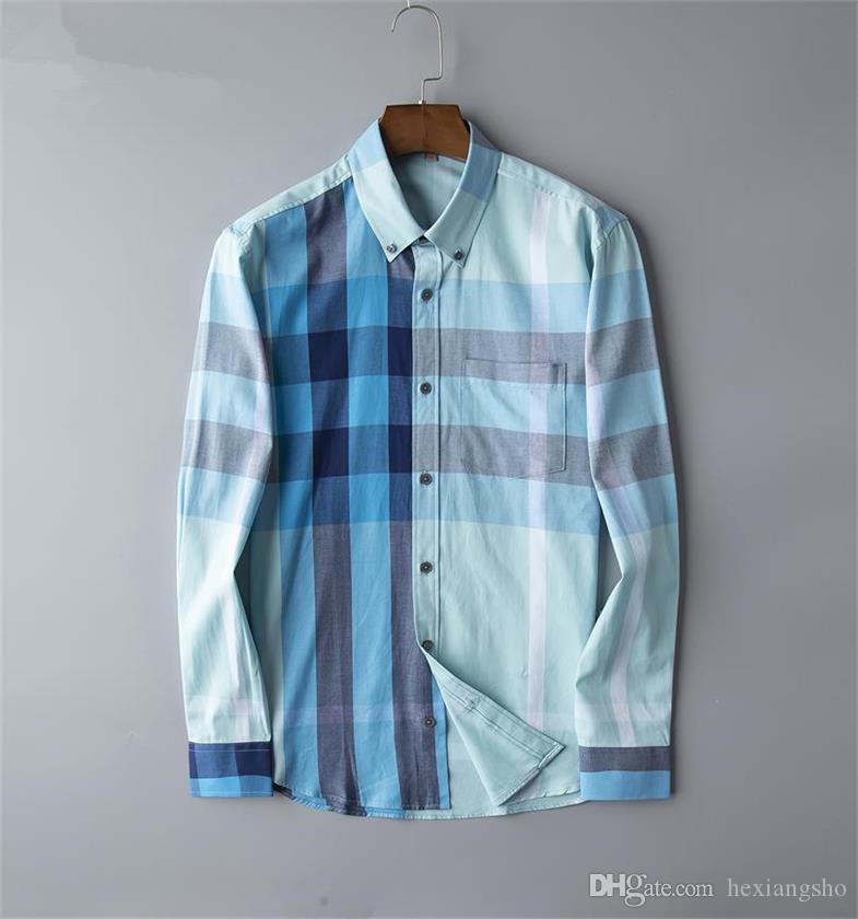 Brand Men's Business Casual shirt mens long sleeve striped slim fit camisa masculina social male T-shirts new fashion man checked shirt 05