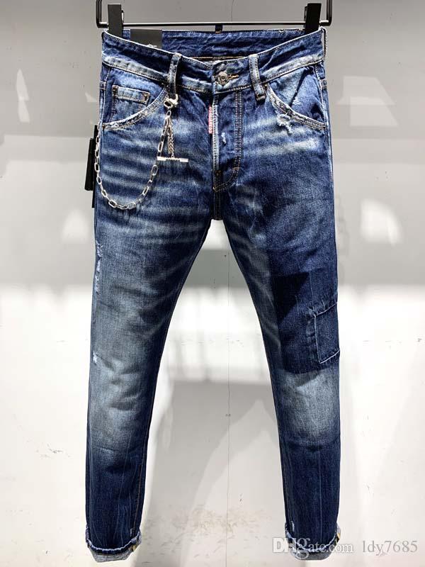 2020ss homens europeus e americanos fazem velho jeans slim versão motocicleta denim motocicleta, homens de jeans homens designer de moda casuais 6 bilhões