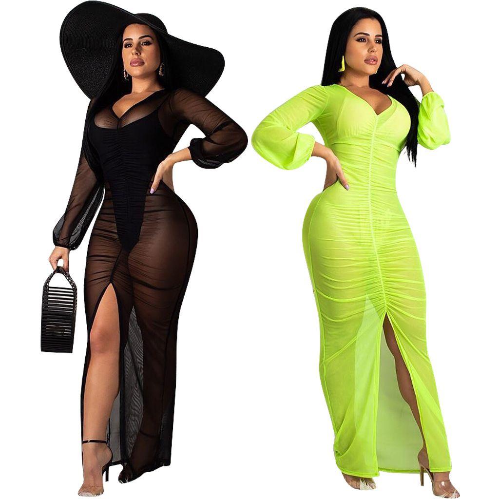 Vestido ajustado de malla transparente negro / verde Mujer sexy caliente Ver a través de cuello en V Fruncido Altas piernas altas Vestido maxi Noche Out Party Wear