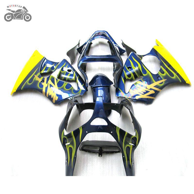 Injection fairings kit for Kawasaki Ninja ZX6R 2000 2001 2002 yellow blue motorcycle fairing kit 636 00-02 ZX-6R 00 01 02 ZX 6R