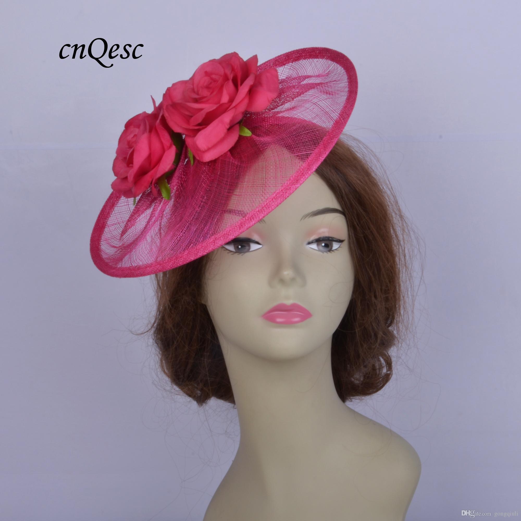 2019 Hot pink Saucer fascinator Cappello da donna sinamay fascinator hat per la cerimonia nuziale doccia madre della sposa con fiore rosa.