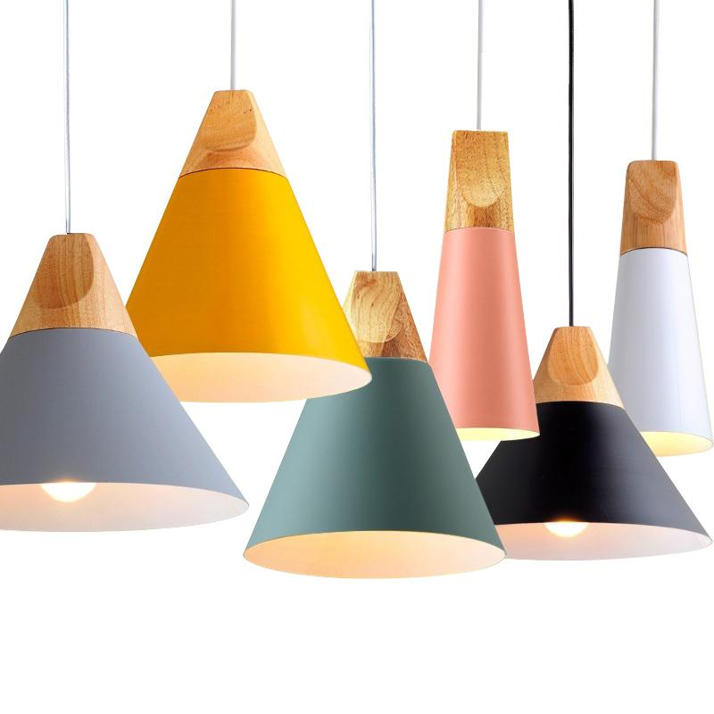 Nordic LED Pendant Lights Dining Room Pendant Lamp Modern Colorful Restaurant Kitchen Coffee Bedroom Wood Island Lighting