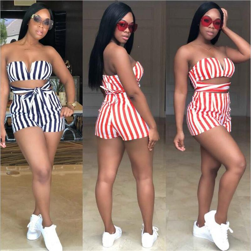 Women Playsuits for Streetwear Bandage Hollow Out Design Strapless Striped Playsuits Lady Summer Slim Pockets Playsuits T200527
