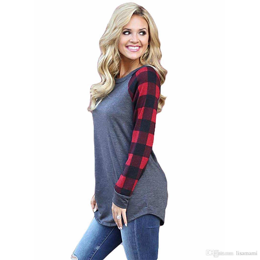 New Maternity Tops tees Women Plaid Raglan Long Sleeve Color Block Base Top Tees Ladies Pullover Round Neck Checks T Shirts