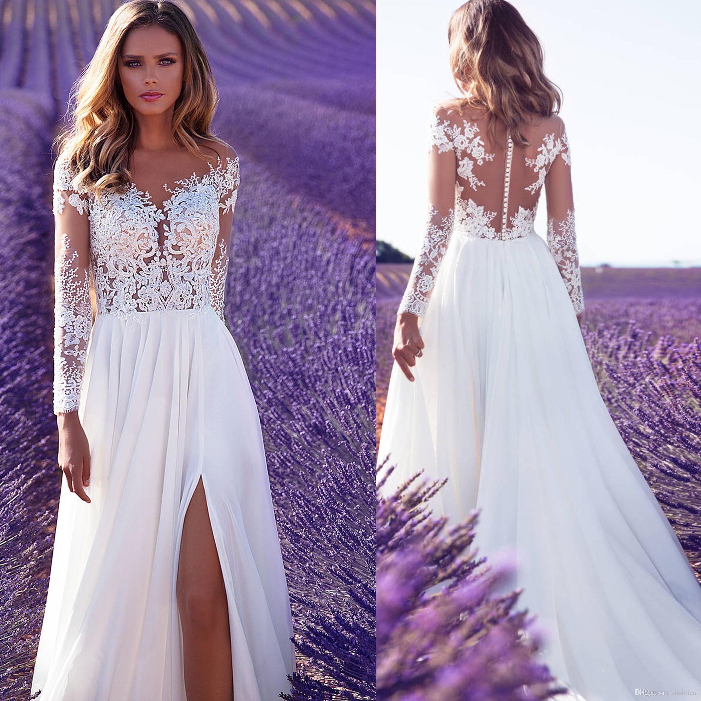 2019 High Split Lace Chiffon Wedding Dresses Sheath Sheer Illusion Bridal Formal Gown Summer Beach Long Sleeve Milla Nova Wedding Dress