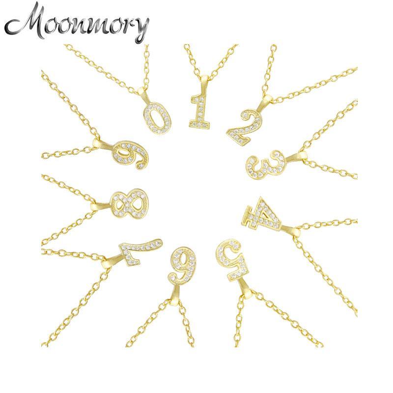 Moonmory 100٪ 925 فضة نمبر الزركون قلادة قلادة هدية لأزياء النساء كريستال قلادة الصليب مجوهرات