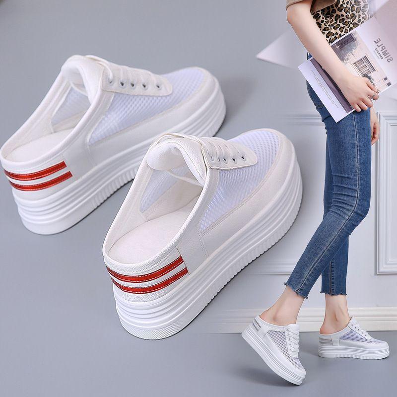 Sexy2019 Белые Маленькие Тапочки С Толстой Подошвой Женская Обувь Xia Pingdi Студент Свободное время Женщина Половина Тапочки