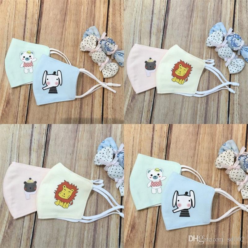 Child Breathing Mouth Face Mask Cartoon Animal Printing Masks Respirator Adjustable Reusable Anti Droplet 3 8ll UU
