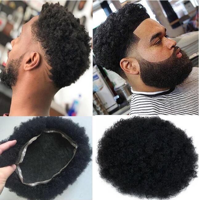 Uomini sistema parrucca Mens Hairpieces Afro Curl merletto pieno parrucchino nero di getto # 1 sostituzione malesi del Virgin capelli umani di Remy per Uomo Nero