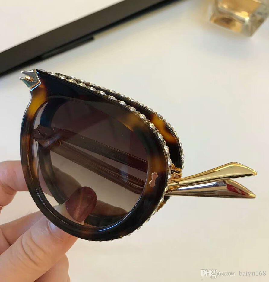 럭셔리 0307S 접이식 하바나 플라스틱 파일럿 선글라스 브라운 렌즈 0307 Sonnenbrille 디자이너 상자에 새로운 브랜드 선글라스