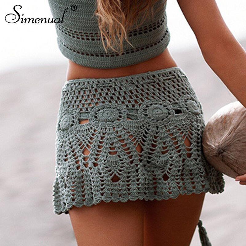 Среднее сексуальное вязание крючком Купальники Цветочные мини-юбки прозрачные Pareos Beachwear Beachwear Handmade Handmade Handmade C19041601