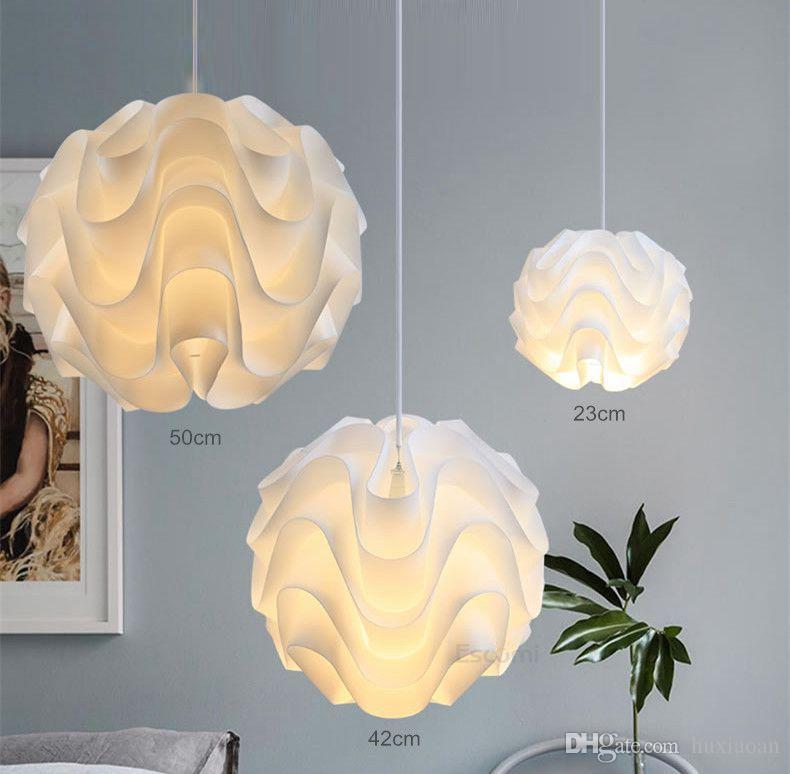 Modern Nordic Pendant Lights PP Wave ball Hanglamps White Globe Pendant Lamps Kitchen Fixtures Indoor Lighting Luminiare Lamp ems