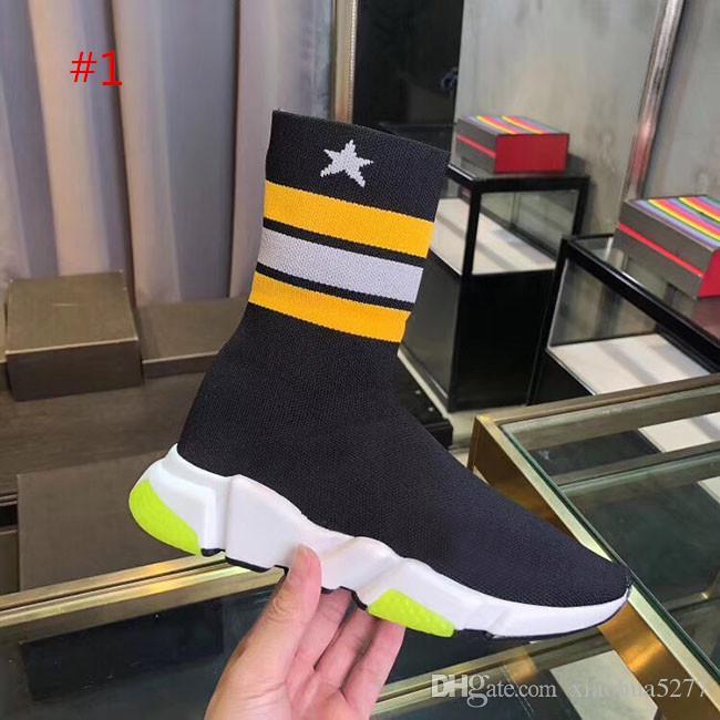 2019 Designer Chaussures Speed Entraîneur Gypsophila Fashion Chaussette plates Bottes Chaussures Casual Vitesse Entraîneur coureur avec sac à poussière