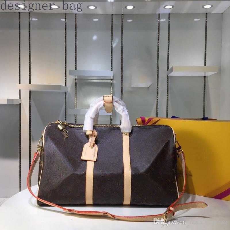 TENERE borse Tutte le donne borse viaggiano sacche duffle fiore Brown a scacchi tutti i colori di pelle N41414 reale 55 centimetri 50 centimetri 45 centimetri Borsa