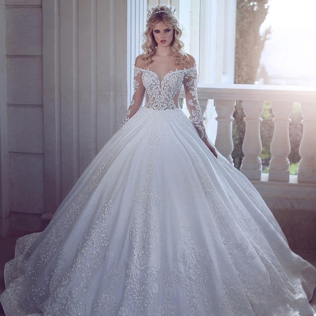 2020 뉴 럭셔리 A 라인 웨딩 드레스 환상 어깨 레이스 아플리케 크리스탈 구슬 긴 소매 오프 기차 플러스 사이즈 신부 가운 스윕