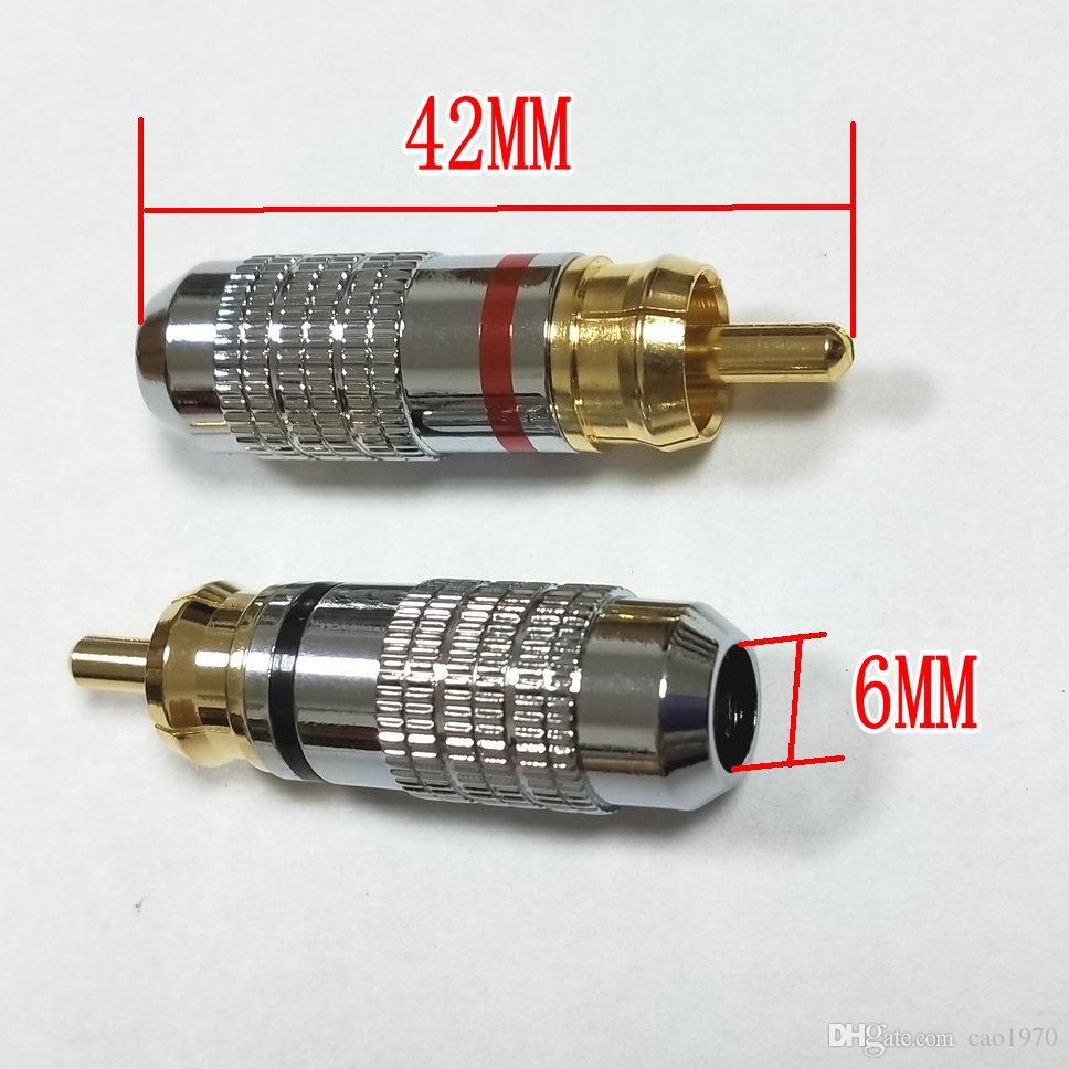 50 pcs Copper RCA Plug Gold Plated Audio Video Adapter Connectors soldering