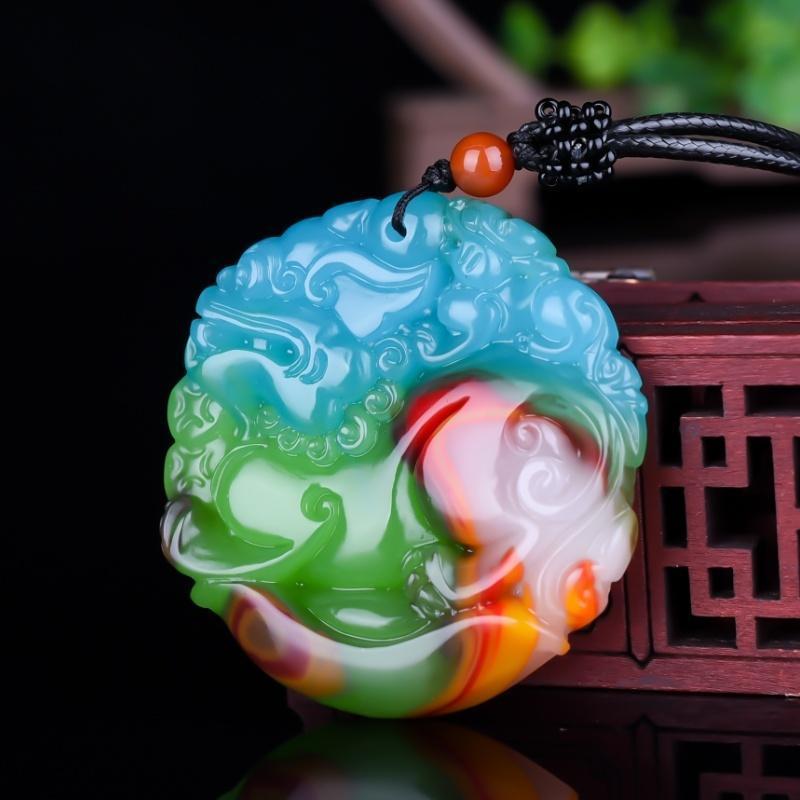 Colgante de jade de color de las mujeres naturales de Xinjiang Hotan Jade Oro seda de color de piel de los hombres de Hugh y