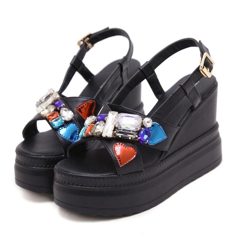 2020 Yaz Ayakkabı Kadınlar Kristal Sandalet Açık Burun Kamalar Yüksek Topuklar 11cm ayakkabı Kadın Platformu Heeled Sandalet Chassure Femme